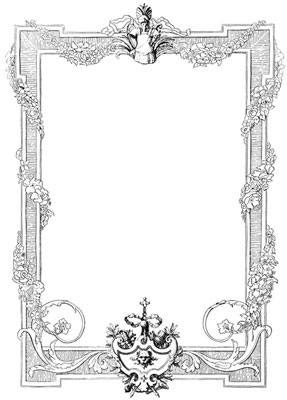 Rectangular Frame with Flowers and Shield - Design Image Source