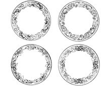 A Set of Four Circular Flower Frames - Design Image Source