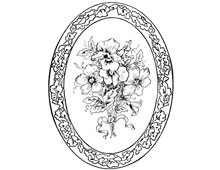 Oval Frame of Leaves around Pansies - Design Image Source