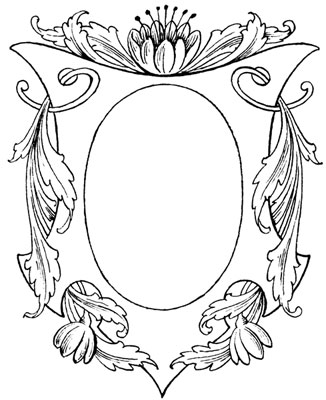 Oval Emblem Frame with Leaves and Flowers - Design Image Source