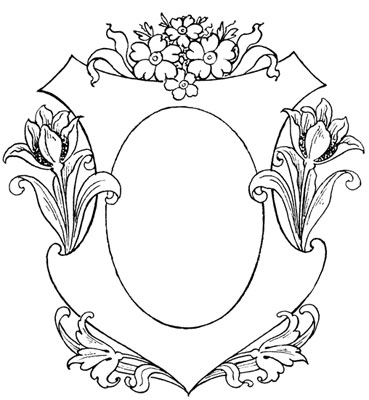 Oval Emblem Frame with Tulips - Design Image Source