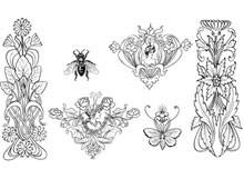 An Assortment of Floral Art Deco Designs - Design Image Source