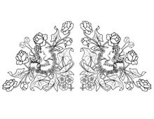 Two Art Deco Style Corners of Woman with Roses - Design Image Source