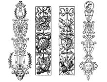 Set of Four Vertical Decorative Ornaments - Design Image Source