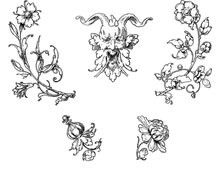 Assorted Floral Elements and a Horned Man - Design Image Source