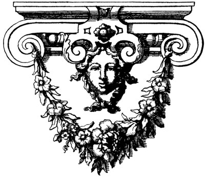 Ornament of a Face with Flowers