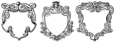 Three Decorative Shield-Shaped Frames - Design Image Souce