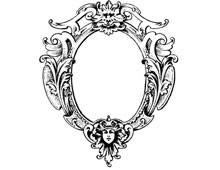 Oval Frame Clipart with Woman's Face - Design Image Source