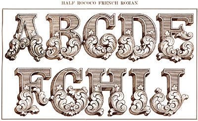 Half Rococo French Roman Alphabet by J. M. Bergling