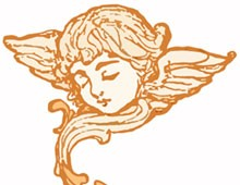 Young Angel Head with Wings