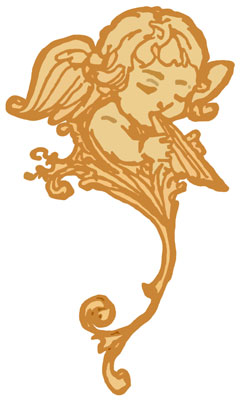 Cherub with Wings Playing Flute
